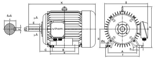 Động cơ điện 15hp tốc độ 730 r/min 8 cực