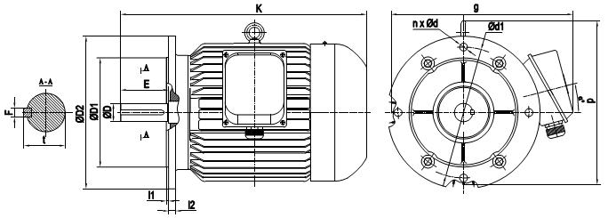 Mô tơ điện 22kW mặt bích tốc độ 2960 r/min