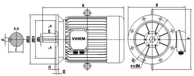 Mô tơ điện 45kW mặt bích tốc độ 2960 r/min