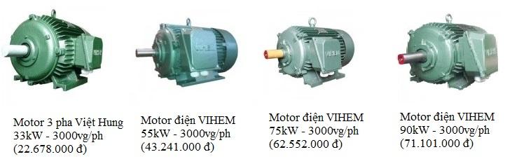 Giá Motor 3 pha Việt Hung các loại 33kW - 55kW - 75 kW - 90 kW (3000vg/ph)