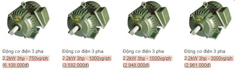 Motor 3 pha Việt Hung bán chạy trên thị trường